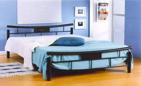 Black metal bed